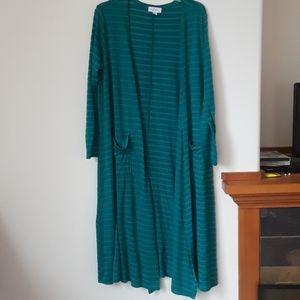 Lularoe medium green stripped long cardigan